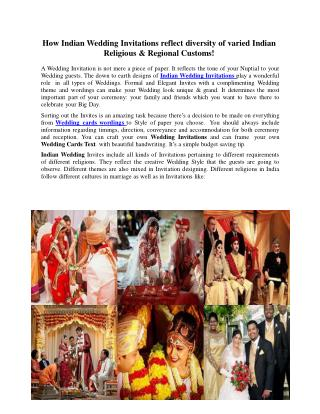 How Indian Wedding Invitations reflect regional Diversities
