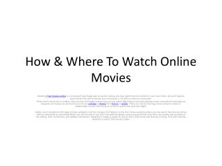 How & Where To Watch Online Movies