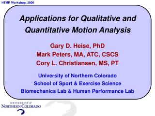 Applications for Qualitative and Quantitative Motion Analysis