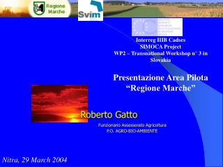 "Interreg IIIB Cadses SIMOCA Project WP2 – Transnational Workshop n° 3 in Slovakia Presentazione Area Pilota ""Region"