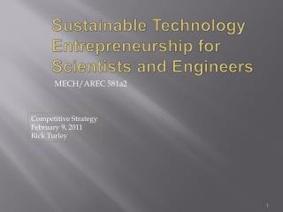Sustainable Technology Entrepreneurship for Scientists and Engineers
