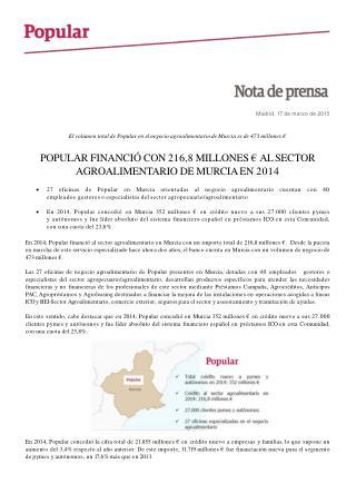 Ángel Ron y el Popular financiaron con 216,8 millones de eur