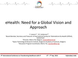 eHealth: Need for a Global Vision and Approach