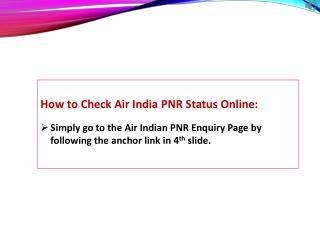 Air India PNR Status