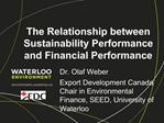 The Relationship between Sustainability Performance and Financial Performance