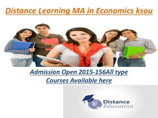 Distance Learning Courses MA in Economics ksou