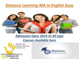 Distance Learning Courses MA in English ksou