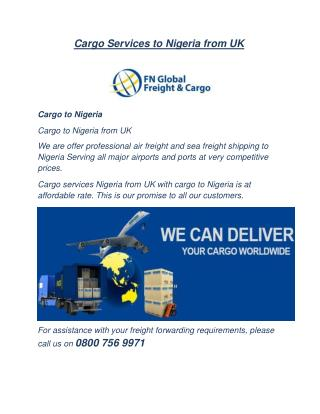 Cargo to Africa - Cargo Shipping to Africa