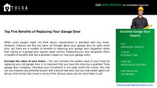 Top Five Benefits of Replacing Your Garage Door