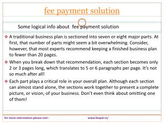 This chapter is focused on the fee payment solution