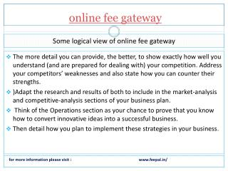 Fulfillment and status information related online fee gatewa