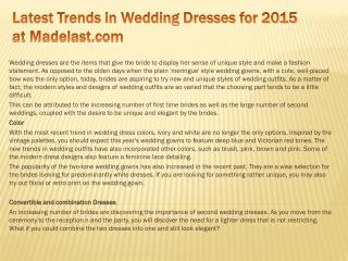 Latest Trends in Wedding Dresses for 2015 at Madelast.com