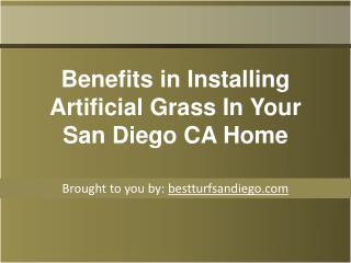 Benefits in Installing Artificial Grass In Your San Diego CA
