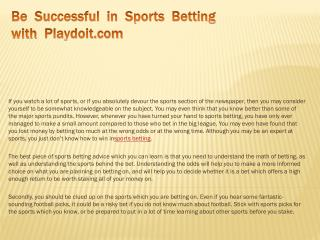 Be Successful in Sports Betting with Playdoit.com