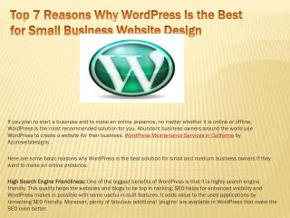 Top 7 Reasons Why WordPress Is the Best for Small Business W