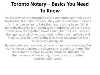 Toronto Notary