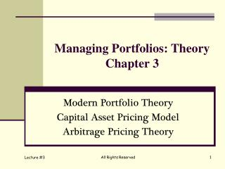 Managing Portfolios: Theory Chapter 3