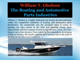William T. Gholson_The Boating and Automotive Parts Industries