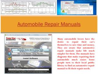 Automobile Repair Manuals