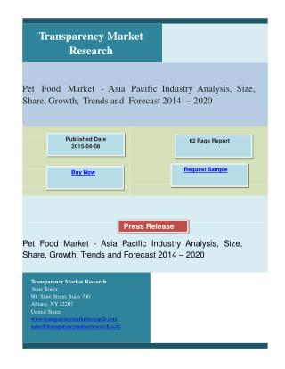 Pet Food Market - Asia Pacific Industry Analysis, Size, Shar