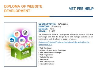 Diploma of Website Development Course Online Australia