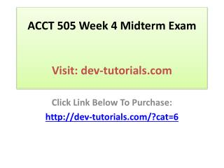 ACCT 505 Week 4 Midterm Exam