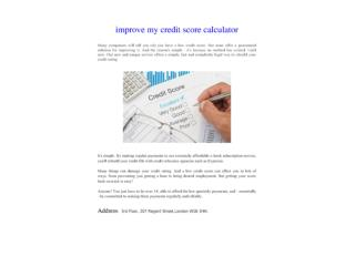 improve my credit score calculator