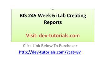 BIS 245 Week 6 iLab Creating Reports