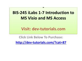 BIS-245 Week 1 iLab Devry University