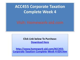 ACC455 Corporate Taxation Complete Week 4