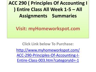 ACC 280 ( Principles of Accounting)Complete Course All Assig