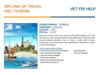 Diploma of Travel and Tourism Course Online Australia with O