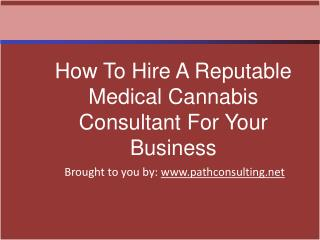 How To Hire A Reputable Medical Cannabis Consultant For Your
