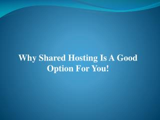 Why Shared Hosting Is A Good Option For You