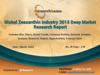 Global Zeaxanthin Industry 2015 Deep Market Research Report