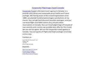 Cheap Corporate Travel Canada Agency
