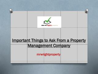 Important Things to Ask From a Property Management Company