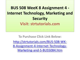 BUS 508 WeeK 8 Assignment 4 - Internet Technology, Marketing
