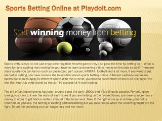 Sports Betting Online at Playdoit.com