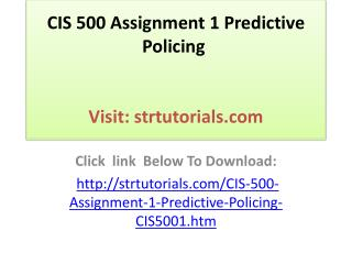 CIS 500 Assignment 1 Predictive Policing