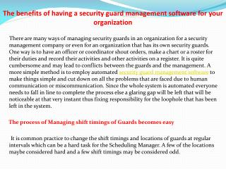 The benefits of having a security guard management software