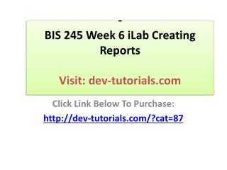 BIS 245 Week 6 iLab Creating Reports  Click Link Below To Pu