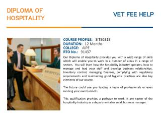 Diploma of Hospitality Course Online