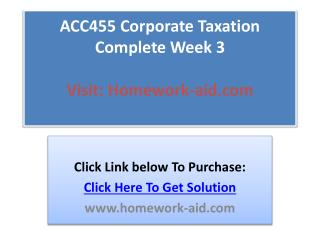 ACC455 Corporate Taxation Complete Week 3