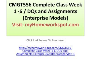 CMGT556 Complete Class Week 1 -6 / DQs and Assignments (Ente