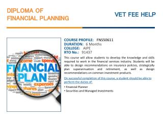 Diploma of Financial Planning Course Online Australia with O