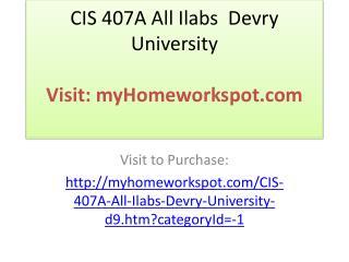 CIS 407A All Ilabs Devry University