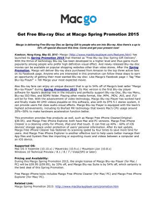 Get Free Blu-ray Disc at Macgo Spring Promotion 2015