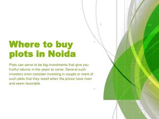 Where to buy plots in Noida
