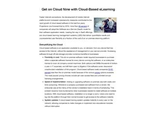 Get on Cloud Nine with Cloud-Based eLearning